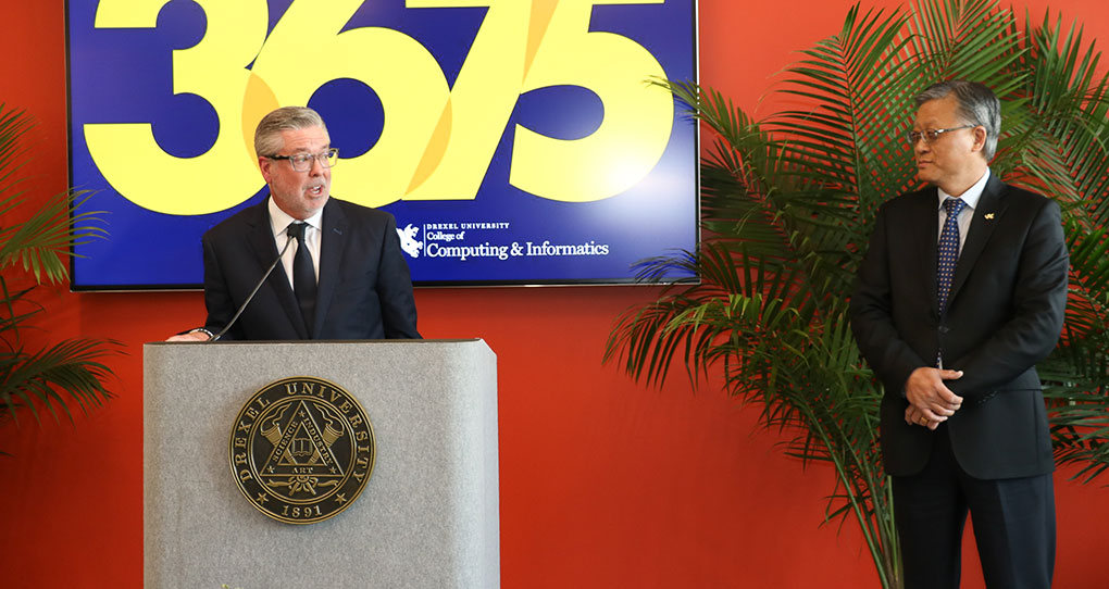 Drexel University President John A. Fry speaking at the 3675 Market Ribbon Cutting ceremony