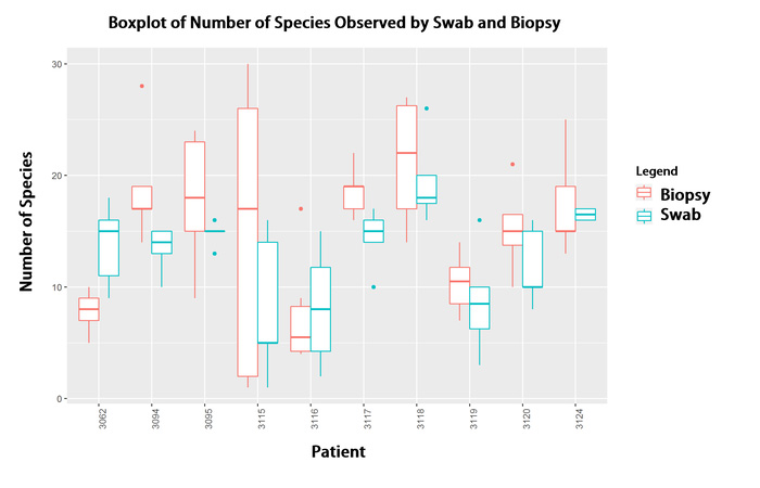 Boxplot of Number of Species Observed by Swab and Biopsy