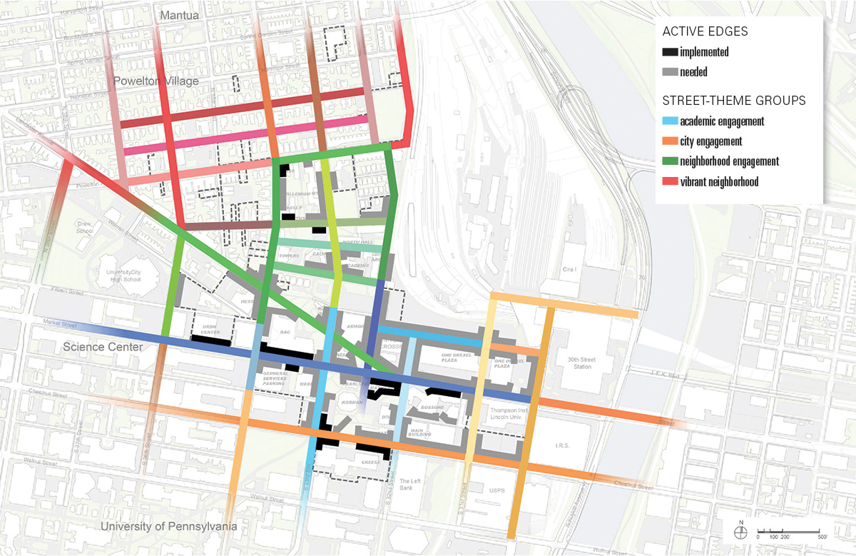 Drexel campus map illustrating bringing campus to the streets