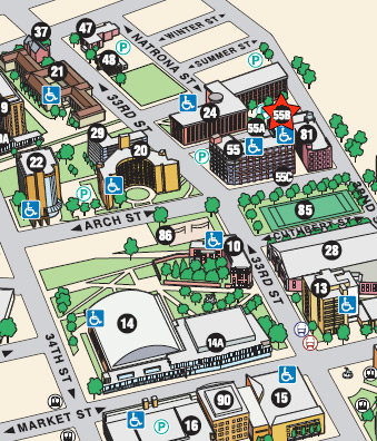 CCE location on Drexel campus map