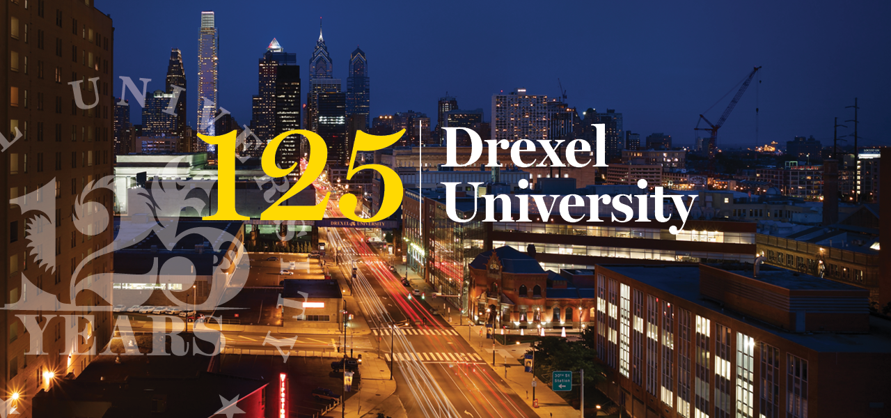 125 Drexel University with view of campus and city streets at night