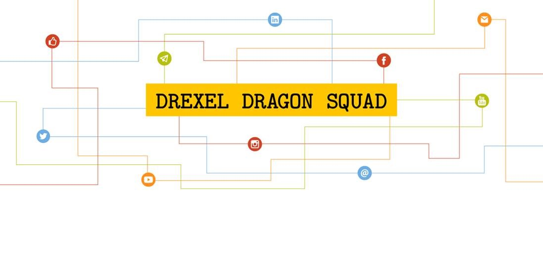 Drexel Dragon Squad with social media icons
