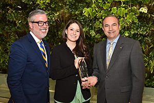 President Fry, Alumni Association Chair Tony Noce, and award winner Victoria Napolitano