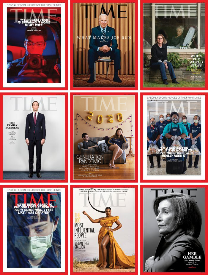 Grid of TIME Magazine cover portraits