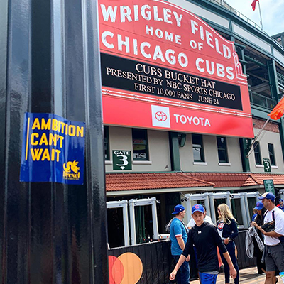 sticker in front of wrigley field