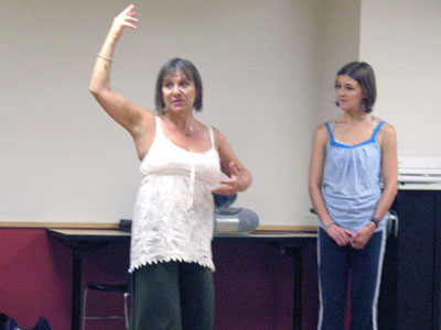 Bonnie Meekums demonstrating DMT technique to student