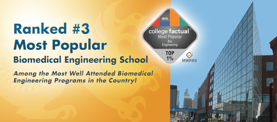 Drexel Biomed ranked #3 most popular school in country (BME)