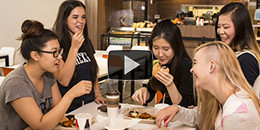 students dining urban eatery