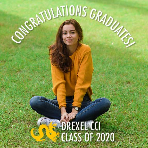 A young woman sitting on the grass with a filter over her photo which says 'Congratulations Graduates! Drexel CCI Class of 2020'