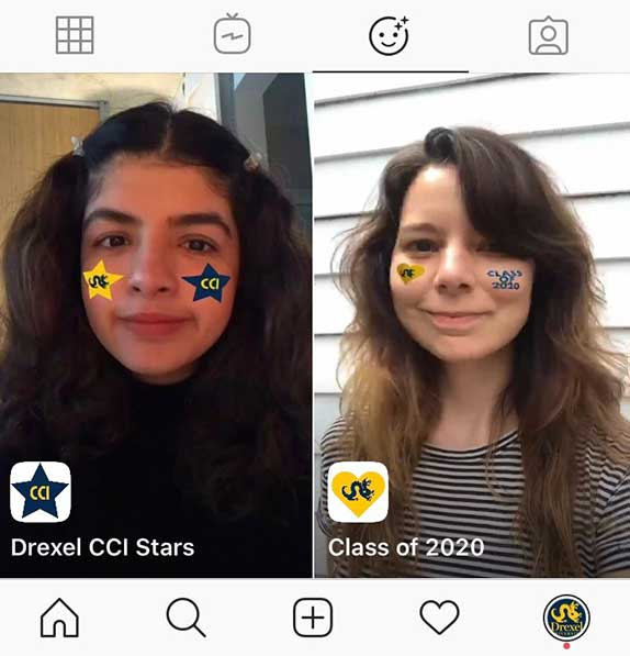 A screenshot from CCI's Instagram page showing two face filters that can be applied to user photos. One filter puts stars on the user's cheeks. The other filter puts a heart and Class of 2020 on the user's cheeks.