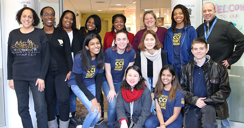 Volunteers from the National Coalition of 100 Black Women - PA Chapter, CCI faculty, Dean's Ambassadors, and recruitment team