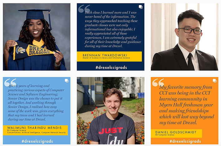 Images of students and quotes from Drexel CCI's Instagram feed