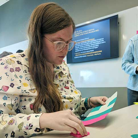 Annie Kelly, one of the participating teachers in the 2019 REThink Program, taking part in a Post-It activity designed to show how data structures and algorithms involved in image representation and compression work.