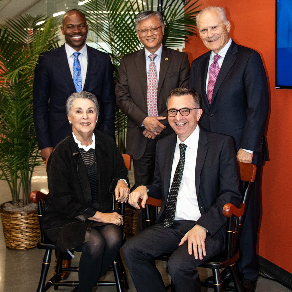 Provost Brian Blake, Dean Yi Deng, Albert Berger, Spiros Mancoridis, and Carol Auerbach photographed at the Auerbach Berger Chair in Cybersecurity dedication ceremony