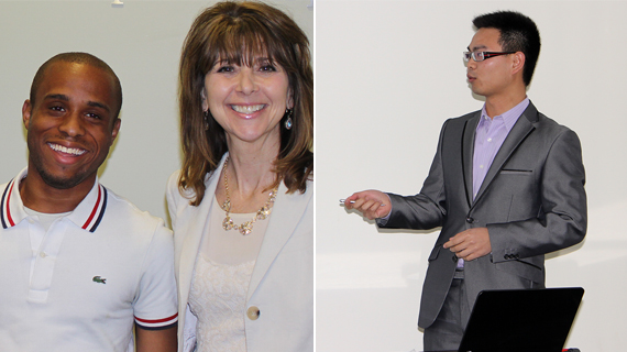 Drexel student Christopher Gray with Dean Donna De Carolis, and Drexel student Weilei Yu.