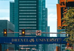 Philadelphia skyline and Drexel University bridge