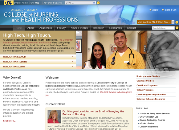 web page for Drexel College of Nursing and Health Professions