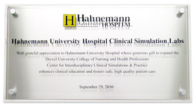 Hahnemann University Hospital Clinical Simulation Labs plaque