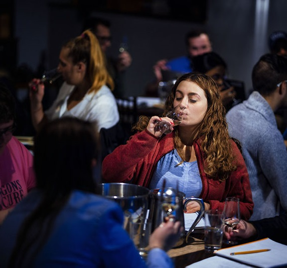 Students in wine and spirits class at the Academic Bistro. Photos by Branden Eastwood.