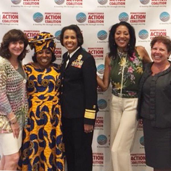 CNHP Dean Laura N. Gitlin, PhD, FAAN, conference co-chair and CNHP faculty Rita K. Adeniran, DrNP, RN, CMAC, NEA-BC, FAAN, Deputy Surgeon General Rear Admiral Sylvia Trent-Adams, PhD, RN, FAAN, conference co-chair Veronica Carey, PhD, CPRP and Laura Valenti, executive director for College engagement, marketing and communications