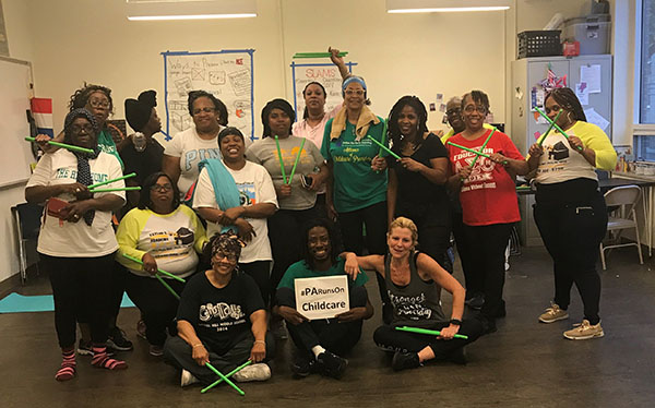 CNHP's Kymberlee Montgomery, DNP leading a Pound fitness class at the Dornsife Center for Neighborhood Partnerships