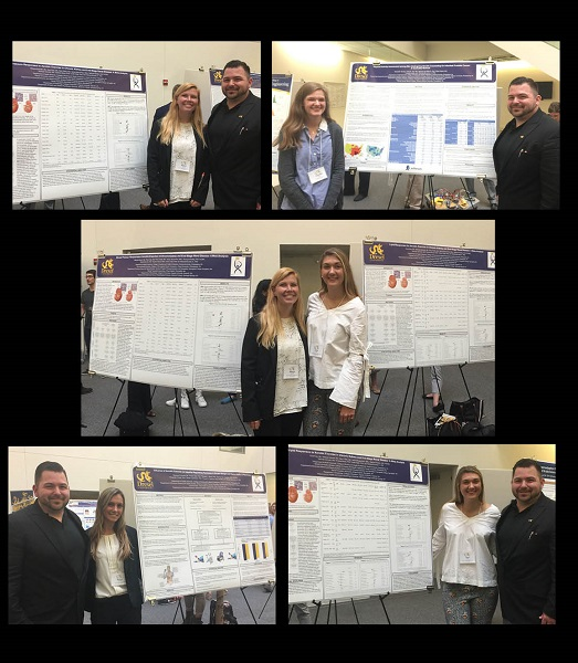 Health sciences students Elizabeth Sinclair, Marissa Pontarelli, Kyra Gray and Mikayla McGrath with their professor, Michael Bruneau, Jr., PhD presenting their posters at Pennoni Honors College's Week of Undergraduate Excellence.