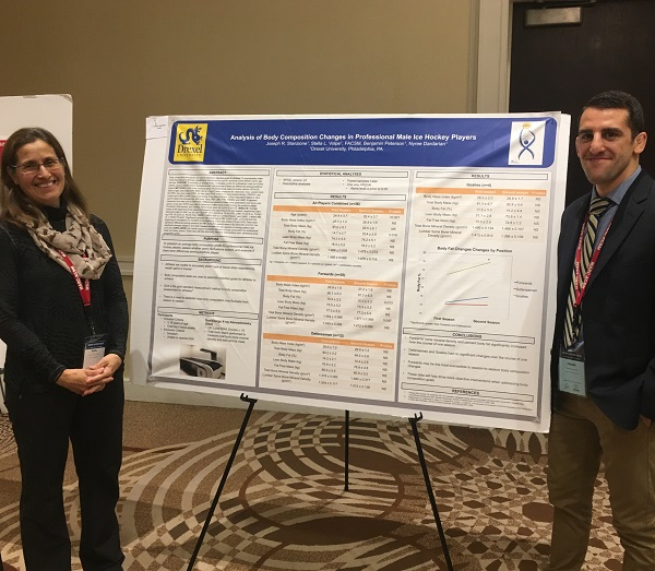 "Joseph Stanzione from the Department of Nutrition Sciences presented his abstract entitled ""Analysis of Body Composition Changes in Professional Male Ice Hockey Players"""
