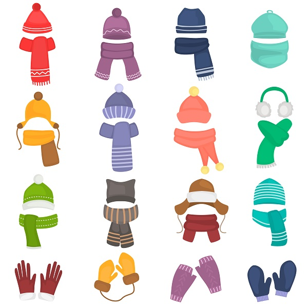 Illustration of hats, gloves and scarves