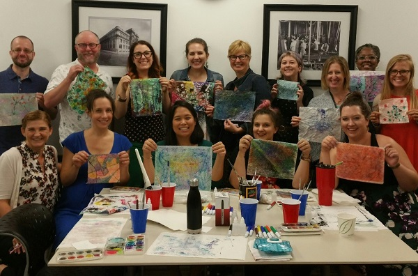 Faculty and staff at Pennoni Honors College after their Painted Meditation workshop