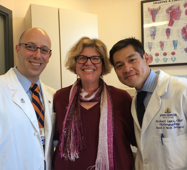 CNHP's communications manager, Roberta Perry with Johns Hopkins' head and neck surgeon Ralph Tufano, MD and his nurse practitioner Michael Lopez, CRNP