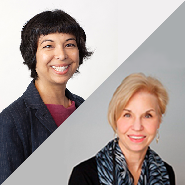 Creative Arts Therapies Department's Sherry Goodill, PhD, clinical professor and chair, and Yasmine Awais, MAAT, ATR-BC, assistant clinical professor