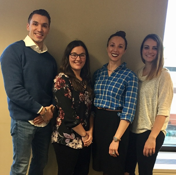 Physician Assistant Department Assistant Clinical Professor Adrian Banning and students Alexandra Podlesny, Mimi Teter and military veteran Nicholas Latham