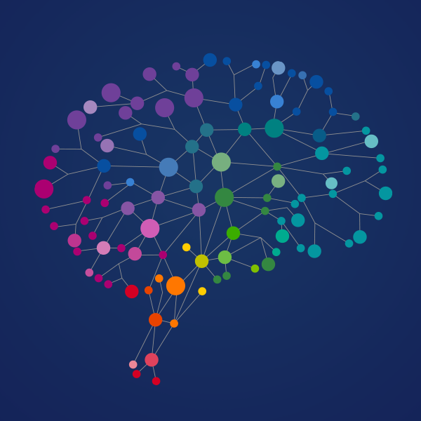 Colorful graphic of a brain network