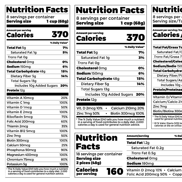 Example of food label