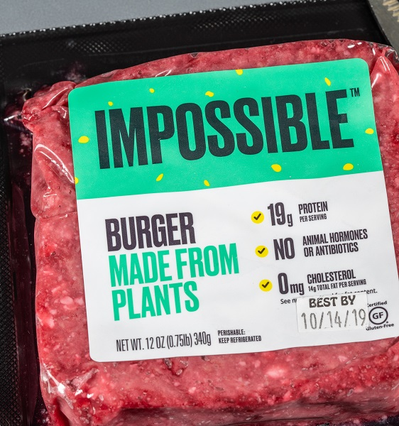 Package of plant-based burger meat