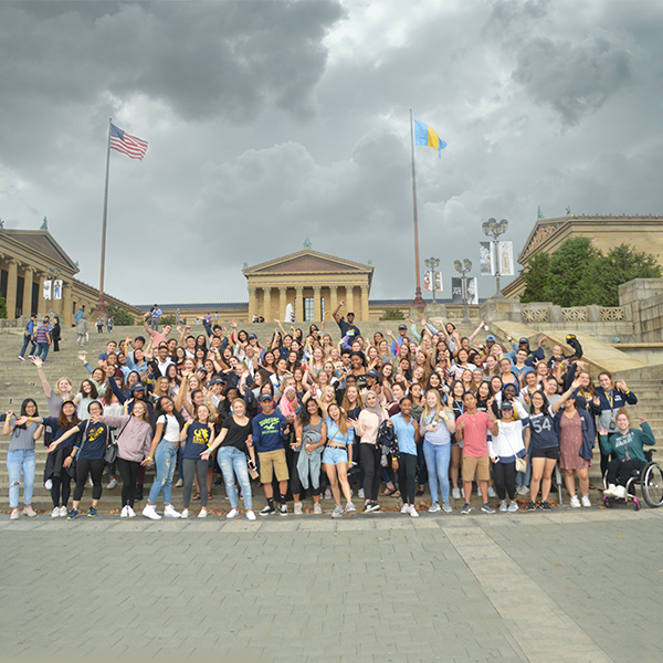 College of Nursing and Health Professions new first-year students on the Philadelphia Museum of Art steps
