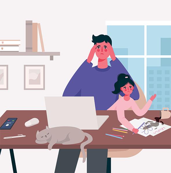 Illustration of adult sitting with child on lap while trying to work.