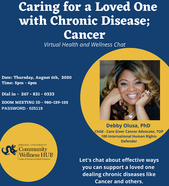Graphic for Caring for a loved one with chronic disease - Cancer event on August 6