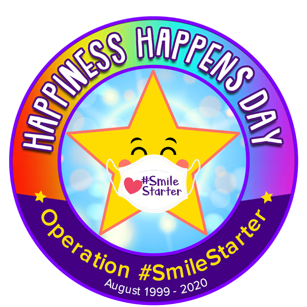 Graphic for Happiness Happens Day with a star wearing a mask