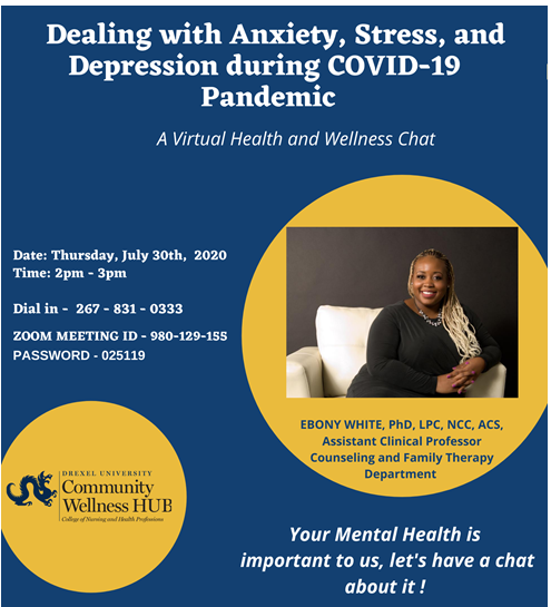 Graphic with Community Wellness HUB logo and photo of Ebony White, PhD.