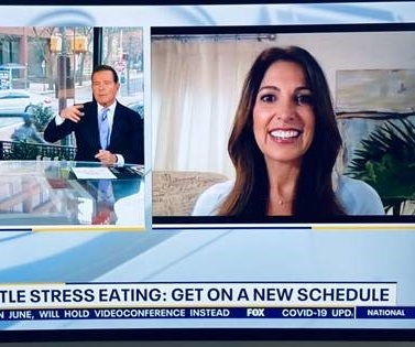 Nyree Dardarian, MS, chatting with the hosts of Philadelphia Fox29 about stress eating during a pandemic