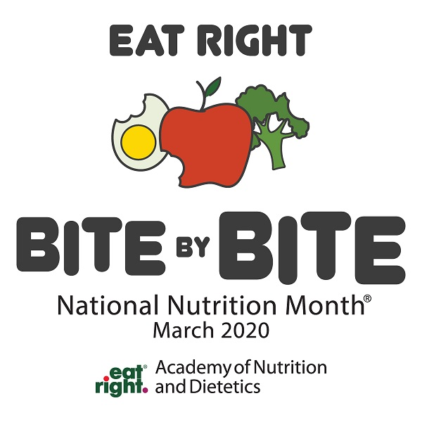 "National Nutrition Month graphic with theme ""Eat Right Bite by Bite"""