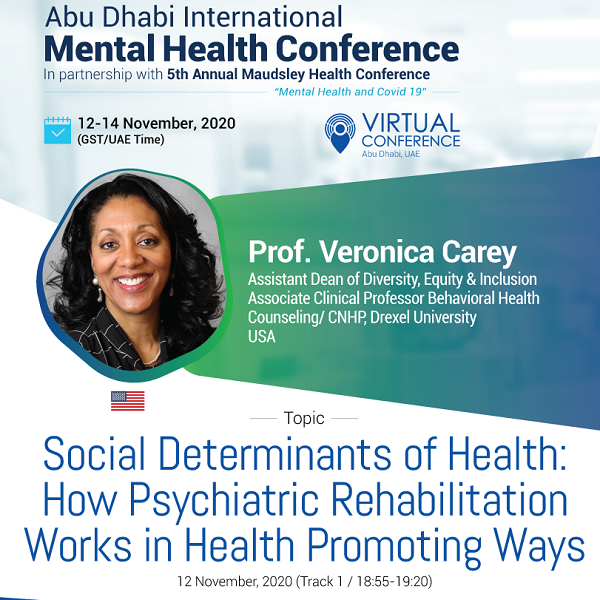 Screen shot: announcement of Veronica Carey, PhD, presenting at conference in Abu Dhabi