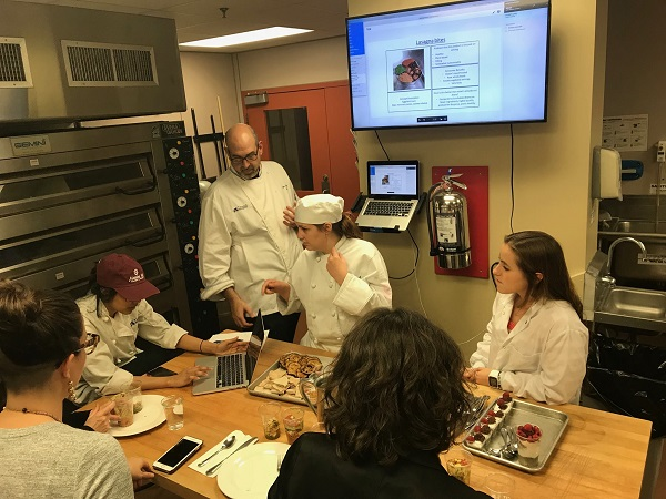Students and professor in a food Science class