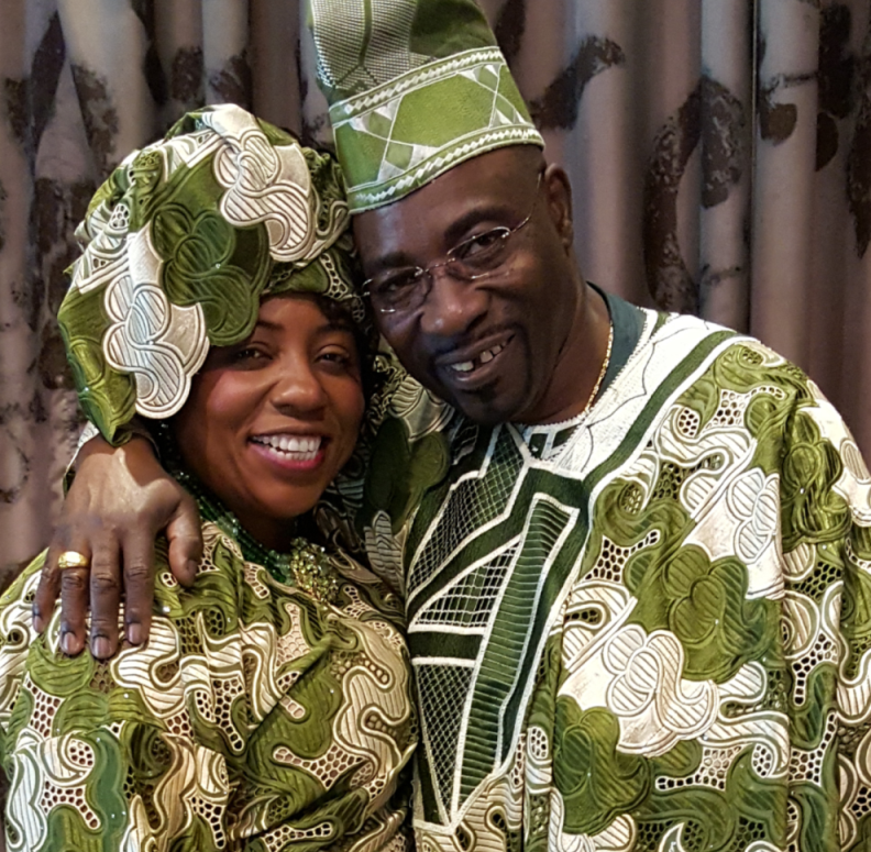 Drs. Rita and Anthony Adeniran in traditional African garb
