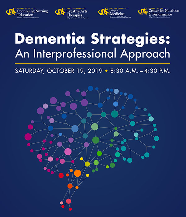 Colorful illustration of brain on a flyer for a continuing education course on dementia strategies