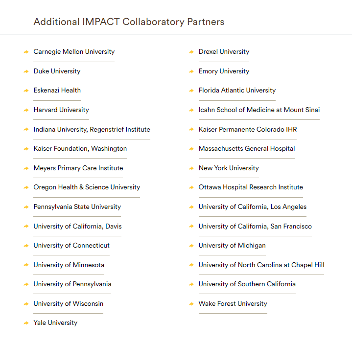 List of university parterns associated with the Imbedded Pragmatic AD/ADRD Clinical Trials (IMPACT) Collaboratory grant