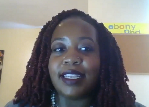 Screen shot of Ebony White, PhD, during a Zoom event for students