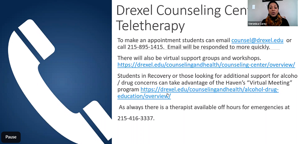 Screen shot of Drexel Counseling Center's contact information