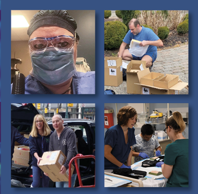 square with four images of health professionals helping during COVID-19 pandemic